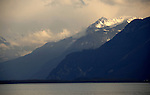 Mountains in the mist over lake Léman, Vevay close to Montreux,Lausanne Switzerland.