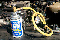 FREON-12: CHARGING AN AUTO AIR CONDTIONER<br /> Trade Name For Dichlorodifluoromethane<br /> CCl2F2. Colorless, practically odorless, noncorrosive, nonirritating, nonflammable gas. Once used as a refrigerant &amp; aerosol propellant, CFCs were judged dangerous to the ozone layer.  Emissions of CFCs have largely ceased.