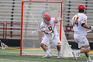 College Park, MD - February 25, 2017: Maryland Terrapins Dan Morris (8) makes a save during game between Yale and Maryland at  Capital One Field at Maryland Stadium in College Park, MD.  (Photo by Elliott Brown/Media Images International)