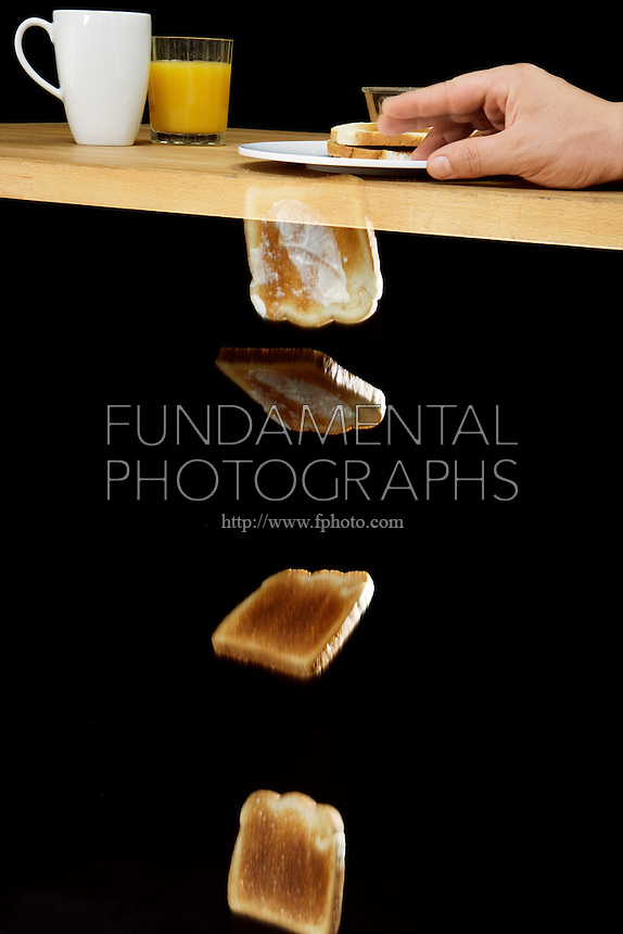 PROBABILITY: FALLING TOAST HYPOTHESIS<br /> Observing The Rotation of Toast As It Falls<br /> (Variations Available)<br /> It is possible to formulate a theory relating table height to number of rotations to predicting whether the toast will land on its buttered side or not.