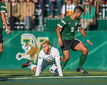 24 September 2016: University of Vermont Catamount Forward/Midfielder Stefan Lamanna, a Senior from Pickering, Ontario, battles Dartmouth College Big Green Defender Ricardo Gomez, a Senior from Doral, FL, at Virtue Field in Burlington, Vermont. The teams played to an overtime 1-1 tie in front of an Alumni Weekend crowd of 1,710 fans. Mandatory Credit: Ed Wolfstein Photo *** RAW (NEF) Image File Available ***