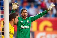 Columbus Crew goalkeeper Andy Gruenebaum (30). The New York Red Bulls and the Columbus Crew played to a 2-2 tie during a Major League Soccer (MLS) match at Red Bull Arena in Harrison, NJ, on May 26, 2013.