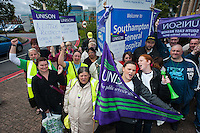 250 cleaners, members of Unison, working for Medirest at Southampton General Hospital picket the hospital at the start of a 7 day strike.