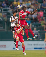 Chicago Fire forward Cristian Nazarit (29) battles for head ball. In a Third Round U.S. Open Cup match, the Chicago Fire defeated the Rochester Rhinos, 1-0, at Sahlens Stadium on June 28, 2011.