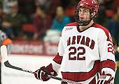 David Valek (Harvard - 22) - The Harvard University Crimson defeated the visiting Clarkson University Golden Knights 3-2 on Harvard's senior night on Saturday, February 25, 2012, at Bright Hockey Center in Cambridge, Massachusetts.
