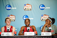 DENVER, CO--Cardinal athletes Toni Kokenis, Chiney Ogwumike, and Nneka Ogwumike field questions from the media during a post-practice press conference at the Pepsi Center for the 2012 NCAA Women's Final Four festivities in Denver, CO.