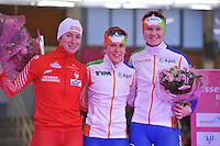SCHAATSEN: BERLIJN: Sportforum, 07-12-2013, Essent ISU World Cup, podium 1500m Ladies Division A, Katarzyna  Bachleda-Curus (POL), Ireen Wüst (NED), Lotte van Beek (NED), ©foto Martin de Jong