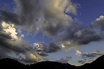 Clouds, mountain silhouette early morning sunrise. Imst district, Tyrol/Tirol, Austria. Alps.