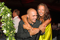 Kelly Slater (USA) and Layne Beachley (AUS) with 15 World Titles  between them share a moment after receiving their World Title trophies at 25th Annual Foster's ASP World Champion's Crowning at Conrad Jupiters Casino on the Gold Coast of Australia Saturday night, February 24 2007. Held just prior to the launch of the 2007 Foster's ASP and ASP Women's World Tours at Snapper Rocks, the World Champion's Crowning acknowledged a bevy of accomplishments by surfers of all disciplines.  Photo: Joli