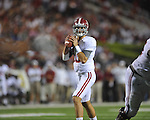 Alabama quarterback AJ McCarron (10) looks to pass at Vaught-Hemingway Stadium in Oxford, Miss. on Saturday, October 14, 2011. Alabama won 52-7.