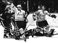 Seals celebrate goal against Montreal, Gary Croteau and Dennis Hextall. (1973 photo/Ron Riesterer)