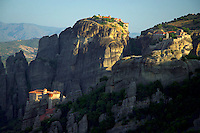 Kalambaka, Kastraki, Meteora, Greece, June 2006. The Great meteora monastery, better known as Metamorphosis on center top, Roussanou left, Varlaam right. The Monastaries of Meteora can be found high on the steepest rocks, Photo by Frits Meyst/Adventure4ever.com