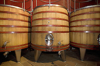 "Switzerland. Canton Ticino. Ligornetto. Firm ""Vinattieri Ticinesi"", owned by Luigi Zanini, wine grower and producer. The wood tubs are used for winemaking the last harvested grapes (2007 red Merlot) from the best wines.   © 2008 Didier Ruef"