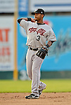 19 July 2012: Tri-City ValleyCats infielder Neiko Johnson in action against the Vermont Lake Monsters at Centennial Field in Burlington, Vermont. The ValleyCats defeated the Lake Monsters 6-3 in NY Penn League action. Mandatory Credit: Ed Wolfstein Photo
