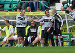 Hibs v St Johnstone...25.08.12   SPL.Pat Fenlon has a go a 4th official Gary Hilland.Picture by Graeme Hart..Copyright Perthshire Picture Agency.Tel: 01738 623350  Mobile: 07990 594431