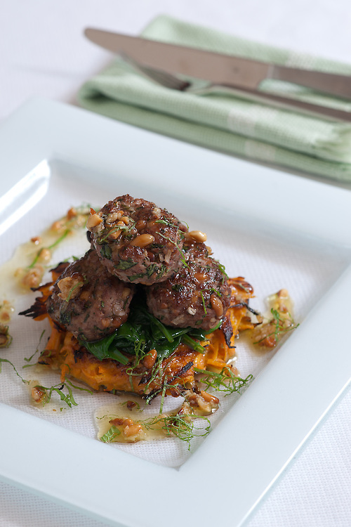 Lamb pine nut and mint meatballs.