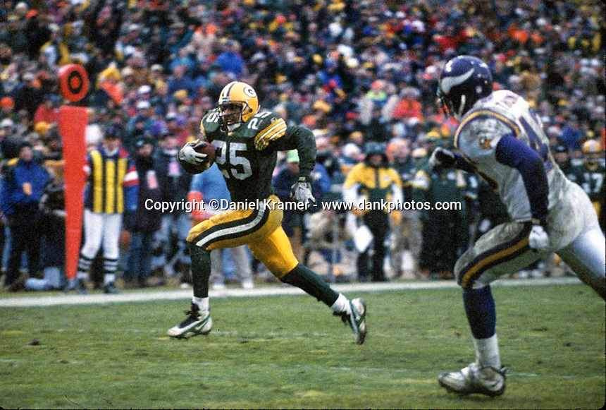 Green Bay Packers running back Dorsey Levens rushed for 73 yards and scored two touchdowns as the Pack defeated the Minnesota Vikings 38-10 on Dec. 22, 1996