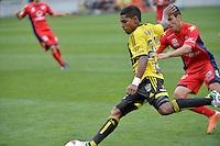 Roy Krishna and Isaias during the A League - Wellington Phoenix v Adelaide United, Wellington, New Zealand on Sunday 30 March 2014. <br /> Photo by Masanori Udagawa. <br /> www.photowellington.photoshelter.com.
