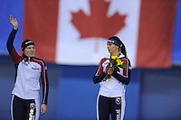 SPEEDSKATING: CALGARY: 15-11-2015, Olympic Oval, ISU World Cup, Podium 1500m Ladies, Heather Richardson (USA), Brittany Bowe (USA), ©foto Martin de Jong