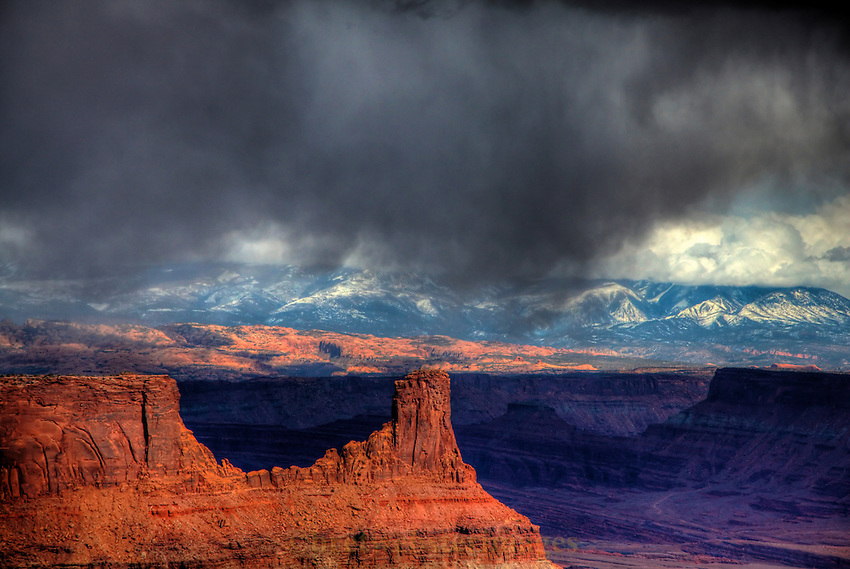 Spring flurry clouds at Dead Horse Point near Moab, Utah.