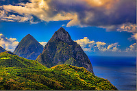 The Pitons, St. Lucia Island, Caribbean Sea, Lesser Antilles,  UNESCO World Heritage Site