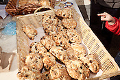 December 16, 2011. Durham, NC.. Chocolate chip scones.. Ari Berenbaum makes a rotating selection of baked goods which he sells on a sliding, pay what you want, price scale near the Durham Farmer's Market.