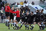 07 November 2010: Wake Forest players rush goalkeeper Aubrey Bledsoe (1) after the penalty kick shootout. The Wake Forest University Demon Deacons defeated the University of Maryland Terrapins 3-1 on penalty kicks after the game ended in a 1-1 tie after overtime at WakeMed Stadium in Cary, North Carolina in the ACC Women's Soccer Tournament championship game.