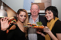 NO REPRO FEE. 3/2/2011. OPENING OF THE COUNTER. Ci Ci Cavanagh and Dani Robinson stars of TVs Fade Street are pictured with Neill Fraser at the opening of the Counter restaurant on Suffolk St Dublin. Picture James Horan/Collins Photos