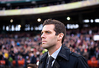 D.C. United head coach Ben Olsen waits for the game to start at RFK Stadium in Washington,DC. D.C. United tied the Houston Dynamo, 1-1.  With the tie, Houston won the Eastern Conference and advanced to the MLS Cup.