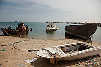 Boats on the shore  in Berbera, Somaliland.