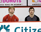 Luke Popko (BU - 26), Nick Bonino (BU - 13) - The Boston University Terriers defeated the University of Maine Black Bears 1-0 (OT) on Saturday, February 16, 2008 at Agganis Arena in Boston, Massachusetts.