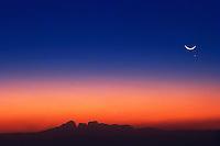 Venus and crest moon over the Olgas at twilight, Uluru National Park, Central Australia,