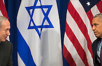 (L to R) Prime Minister of Israel Benjamin Netanyahu speaks to United States President Barack Obama during a bilateral meeting at the Lotte New York Palace Hotel, September 21, 2016 in New York City. Last week, Israel and the United States agreed to a $38 billion, 10-year aid package for Israel. Obama is expected to discuss the need for a &quot;two-state solution&quot; for the Israeli-Palestinian conflict.<br /> Credit: Drew Angerer / Pool via CNP /MediaPunch