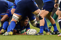Sebastien Tillous-Borde of France presents the ball at the bottom of a ruck. Rugby World Cup Pool D match between France and Ireland on October 11, 2015 at the Millennium Stadium in Cardiff, Wales. Photo by: Patrick Khachfe / Onside Images