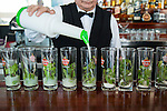 HAVANA, CUBA -- MARCH 23, 2015:  A bartender mixes mojitos at La Torre in Havana, Cuba on March 23, 2015. Photograph by Michael Nagle