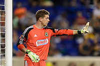 Philadelphia Union goalkeeper Zac MacMath (18). The New York Red Bulls and the Philadelphia Union played to a 0-0 tie during a Major League Soccer (MLS) match at Red Bull Arena in Harrison, NJ, on August 17, 2013.