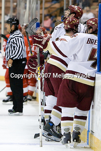 Brian Boyle (Boston College - Hingham, MA), Brett Motherwell (Boston College - St. Charles, IL), Mike Brennan (Boston College - Smithtown, NY) - The Boston College Eagles defeated the Miami University Redhawks 4-0 in the 2007 NCAA Northeast Regional Final on Sunday, March 25, 2007 at the Verizon Wireless Arena in Manchester, New Hampshire.