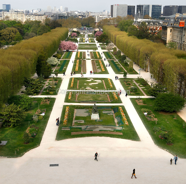 View from above of the Carres de la Perspective (the plots of perspective) located in the Jardin des Plantes, Paris, 5th arrondissement, France. Founded in 1626 by Guy de La Brosse, Louis XIII's physician, the Jardin des Plantes, originally known as the Jardin du Roi, opened to the public in 1640. It became the Museum National d'Histoire Naturelle in 1793 during the French Revolution. Picture by Manuel Cohen