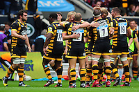Wasps players celebrate at the final whistle. Aviva Premiership match, between Wasps and Exeter Chiefs on September 4, 2016 at the Ricoh Arena in Coventry, England. Photo by: Patrick Khachfe / JMP