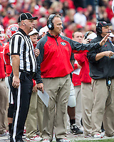 The Georgia Bulldogs beat the App State Mountaineers 45-6 in their homecoming game.  After a close first half, UGA scored 31 unanswered points in the second half.  Georgia Bulldogs head coach Mark Richt questions the ruling after Appalachian State recovered Herrera's fumble