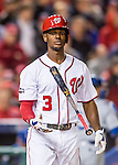 14 October 2016: Washington Nationals outfielder and Baseball America top prospect Michael Taylor flips his bat after striking out for the 3rd out of the 8th inning during the NLDS Game 5 against the Los Angeles Dodgers at Nationals Park in Washington, DC. The Dodgers edged out the Nationals 4-3, to take Game 5, and the Series, 3 games to 2, moving on to the National League Championship against the Chicago Cubs. Mandatory Credit: Ed Wolfstein Photo *** RAW (NEF) Image File Available ***