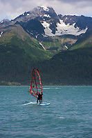 Windsurfer in Resurrection bay, Seward, Alaska