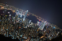 Hong Kong lit up for the evening, seen from Victoria Peak