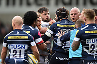 Ross Batty, Elliott Stooke and Matt Garvey of Bath Rugby get to know Andrei Ostrikov of Sale Sharks. Aviva Premiership match, between Sale Sharks and Bath Rugby on May 6, 2017 at the AJ Bell Stadium in Manchester, England. Photo by: Patrick Khachfe / Onside Images