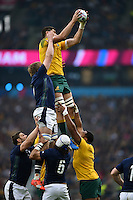 Rob Simmons of Australia wins the ball at a lineout. Rugby World Cup Quarter Final between Australia and Scotland on October 18, 2015 at Twickenham Stadium in London, England. Photo by: Patrick Khachfe / Onside Images