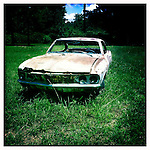 Corvair car in Oxford, Miss. in 2012..Photo taken with an IPhone 4 using Hipstamatic app. .©2012 Bruce Newman