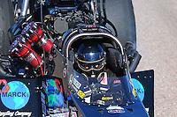 Feb 28, 2016; Chandler, AZ, USA; NHRA top fuel driver Scott Palmer during the Carquest Nationals at Wild Horse Pass Motorsports Park. Mandatory Credit: Mark J. Rebilas-
