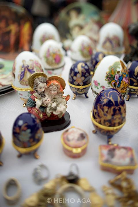 The Naschmarkt, Vienna's biggest market. Saturday flea market. Porcelaine figures.