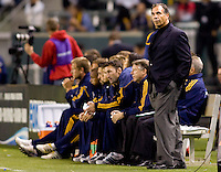 LA Galaxy head coach Bruce Arena observes his tam from the sideline. The LA Galaxy defeated the Columbus Crew 3-1 at Home Depot Center stadium in Carson, California on Saturday Sept 11, 2010.