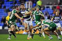 Ollie Devoto of Bath Rugby takes on the London Irish defence. Aviva Premiership match, between London Irish and Bath Rugby on November 7, 2015 at the Madejski Stadium in Reading, England. Photo by: Patrick Khachfe / Onside Images
